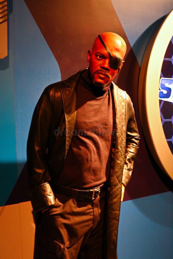 Samuel L Jackson como Nick Fury, cera da senhora Tussauds fotos de stock royalty free