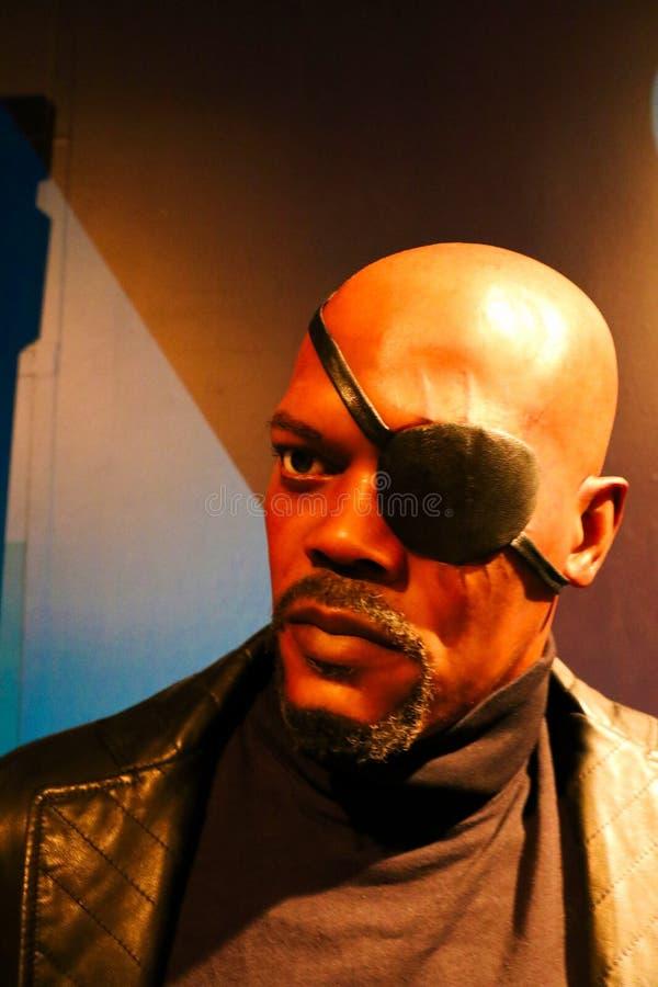Samuel L Jackson como Nick Fury, senhora Tussauds imagem de stock