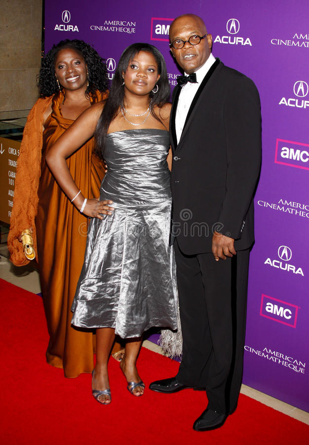 Samuel L. Jackson and LaTanya Richardson. At the 23rd Annual American Cinematheque Award Ceremony Honoring Samuel L. Jackson held at the Beverly Hilton Hotel in royalty free stock photo