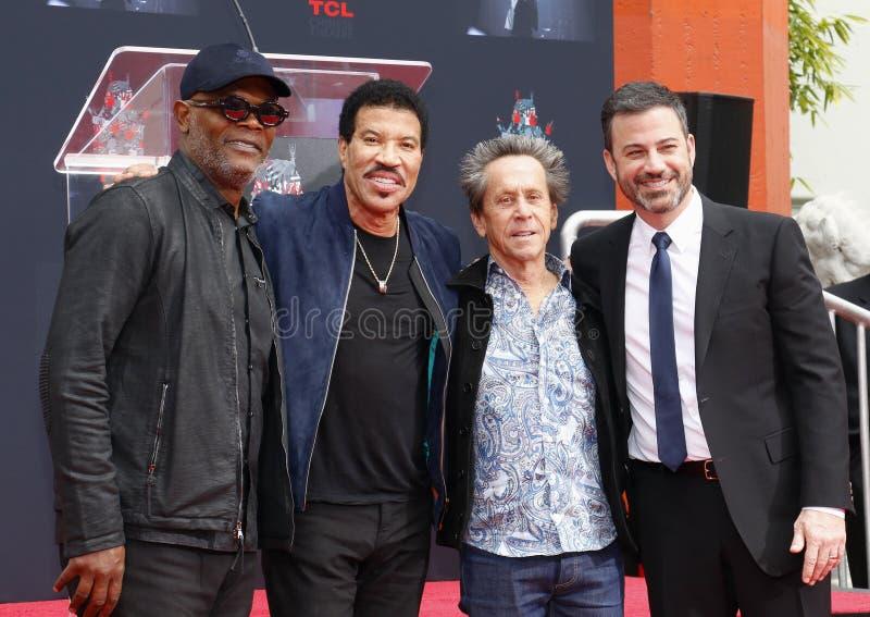 Samuel L Jackson, Lionel Richie, Jimmy Kimmel e Brian Grazer foto de stock
