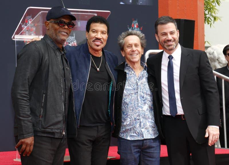 Samuel L Jackson, Lionel Richie, Jimmy Kimmel e Brian Grazer fotos de stock royalty free
