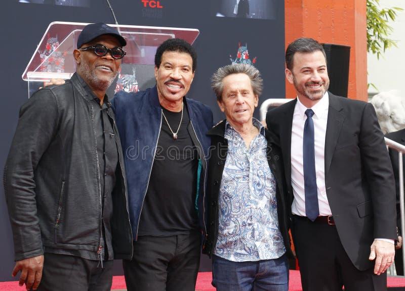 Samuel L Jackson, Lionel Richie, Jimmy Kimmel e Brian Grazer imagem de stock