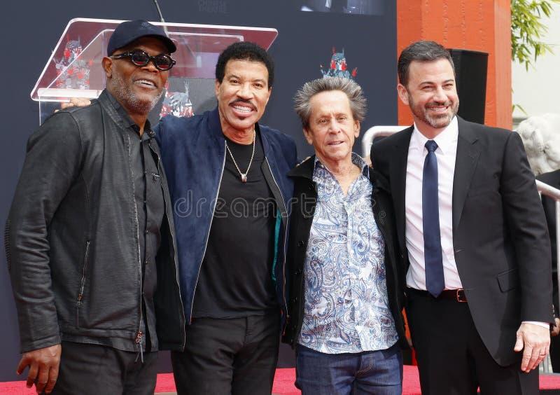 Samuel L Jackson, Lionel Richie, Jimmy Kimmel e Brian Grazer foto de stock royalty free