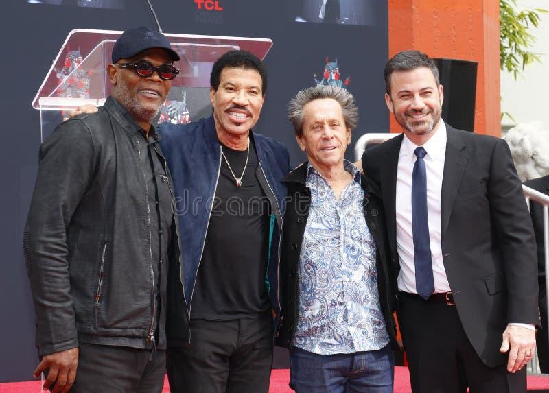 Samuel L Jackson, Lionel Richie, Jimmy Kimmel e Brian Grazer imagem de stock royalty free