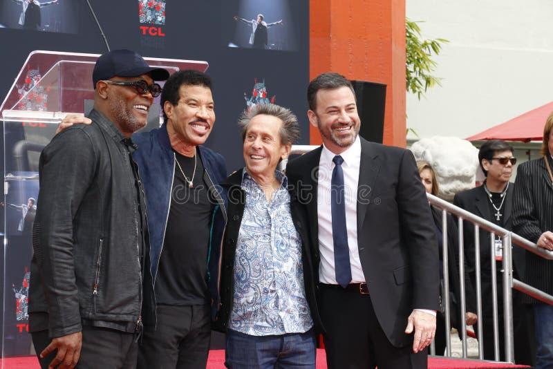 Samuel L Jackson, Lionel Richie, Jimmy Kimmel e Brian Grazer imagens de stock royalty free