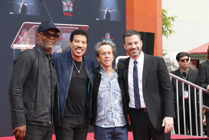 Samuel L Jackson, Lionel Richie, Jimmy Kimmel y Brian Grazer fotos de archivo libres de regalías
