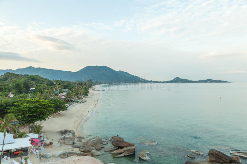 Samui beach. The island has an area of mountains in the background. During the evening sky stock images