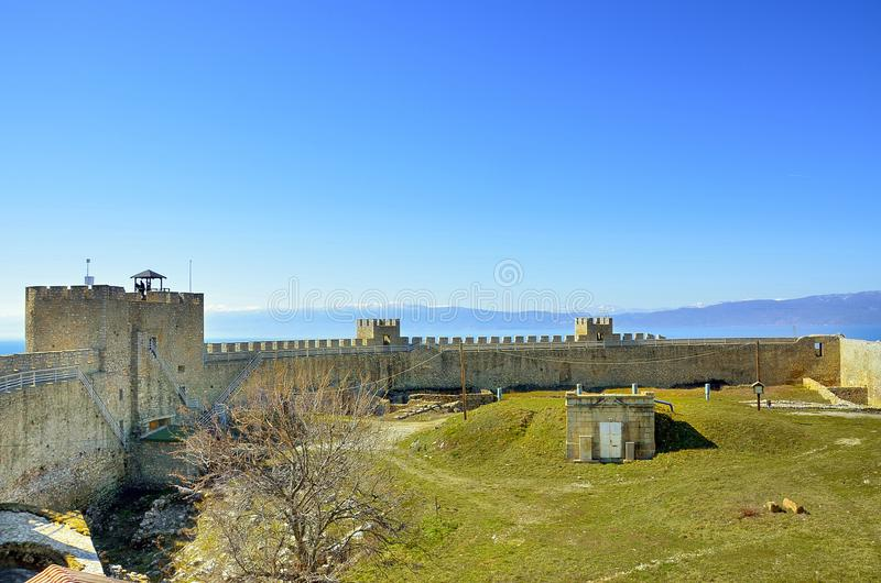 Samuil Fortress, Ohrid, Macedonia. With Ohrid Lake in the backgroud royalty free stock photos