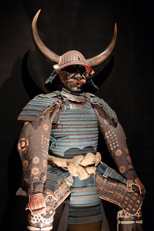 Samurai armor. Historic samurai armor on black stock photos