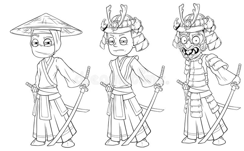Samurai asiático del ninja de la historieta con vector del carácter de la espada ilustración del vector