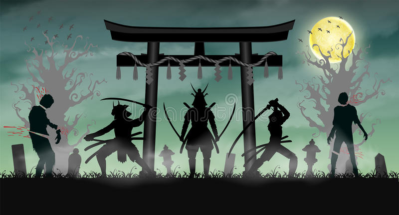 Samurai attack zombie with japan style temple gate. A samurai attack zombie with japan style temple gate vector illustration