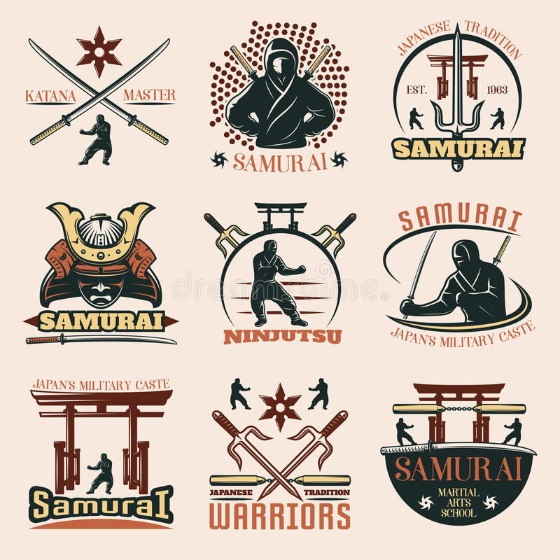 Samurai Colorful Emblems Set Stock Vector Illustration Of Military