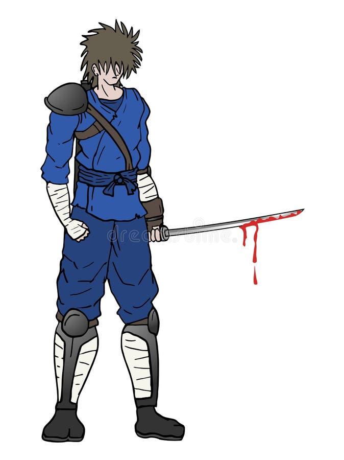 Samurai com espada ensanguentado ilustração stock