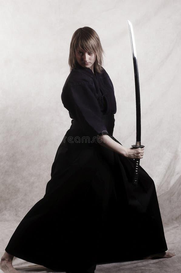 Samurai com lâmina fotos de stock