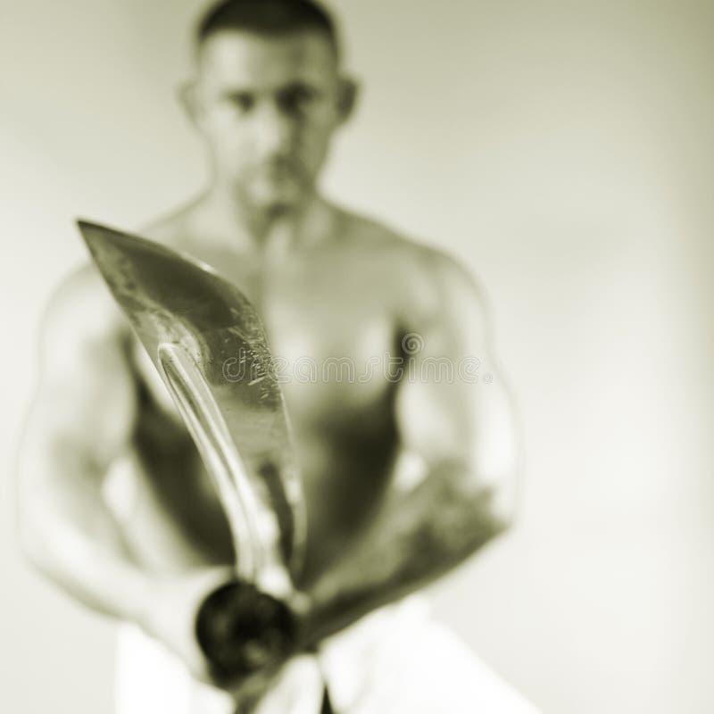 Samurai com uma espada foto de stock