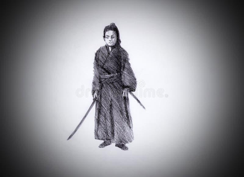 Samurai con dos espadas ilustración del vector