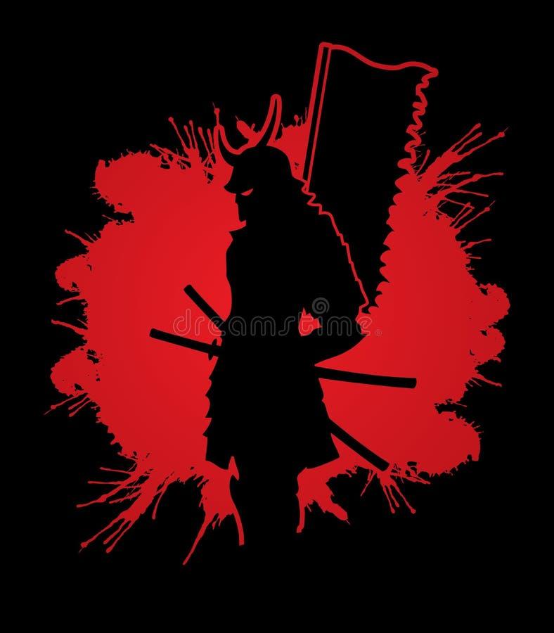 Samurai con el gráfico de la bandera ilustración del vector
