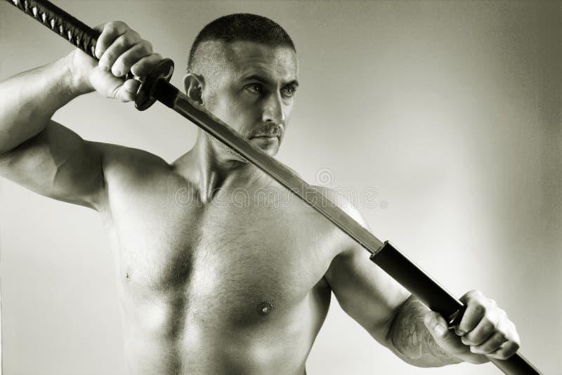 Samurai con una espada foto de archivo libre de regalías