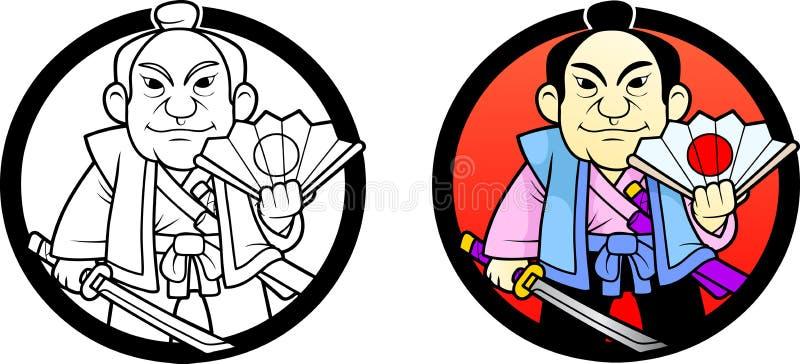 Samurai Con Una Fan A Disposición Ilustración del Vector ...