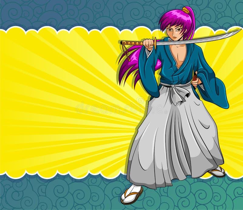 Samurai de Manga ilustração stock