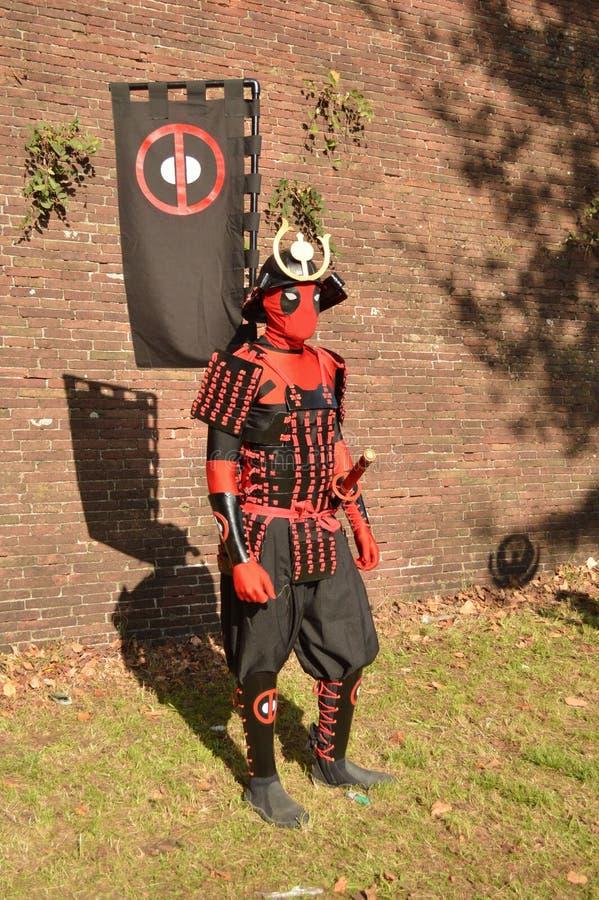 Samurai deadpool at Lucca Comics and Games 2014 royalty free stock image