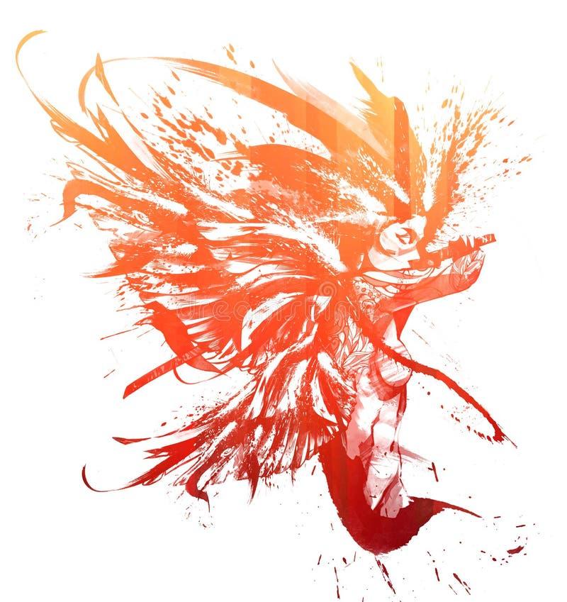 Samurai del ángel en salto mortal libre illustration