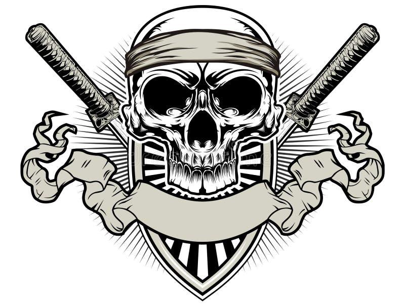 Samurai do crânio ilustração royalty free