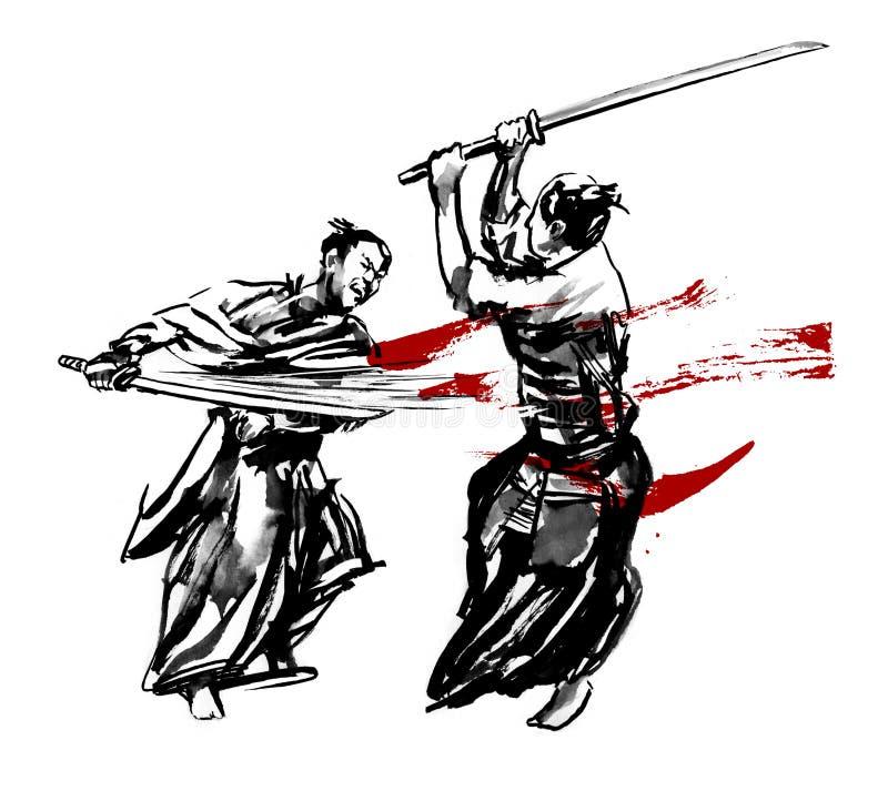 Download Samurai duel stock illustration. Illustration of drawing - 42913841