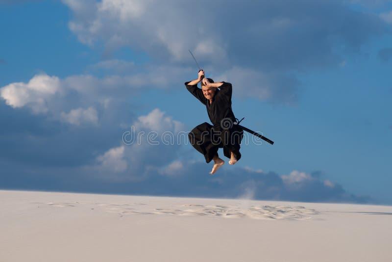 Samurai feroz no fundo do céu nebuloso fotografia de stock royalty free