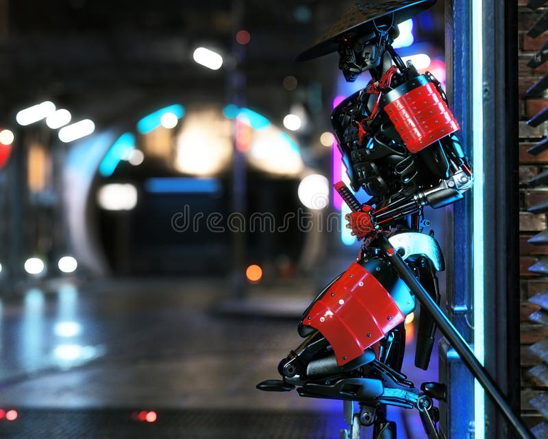 Samurai futuristic android cyber warrior posing with urban sci fi background. 3d rendering royalty free illustration