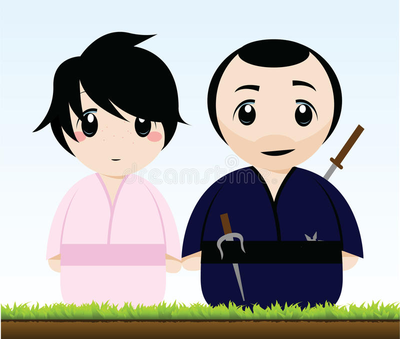 A Samurai And A Geisha Royalty Free Stock Photography
