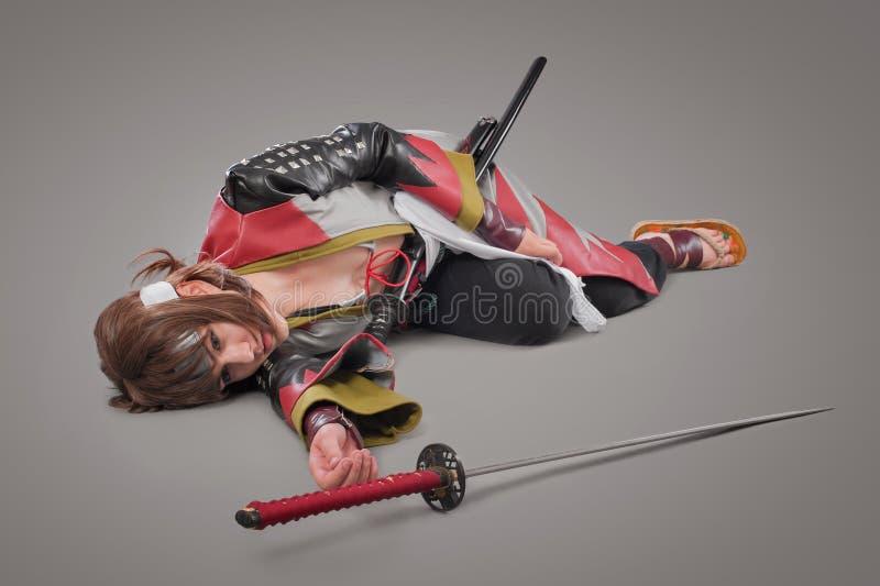 Samurai giapponese con la spada di katana immagini stock