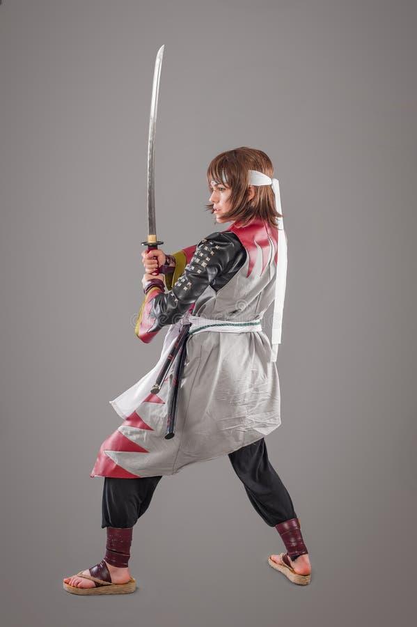 Samurai giapponese con la spada di katana immagine stock libera da diritti