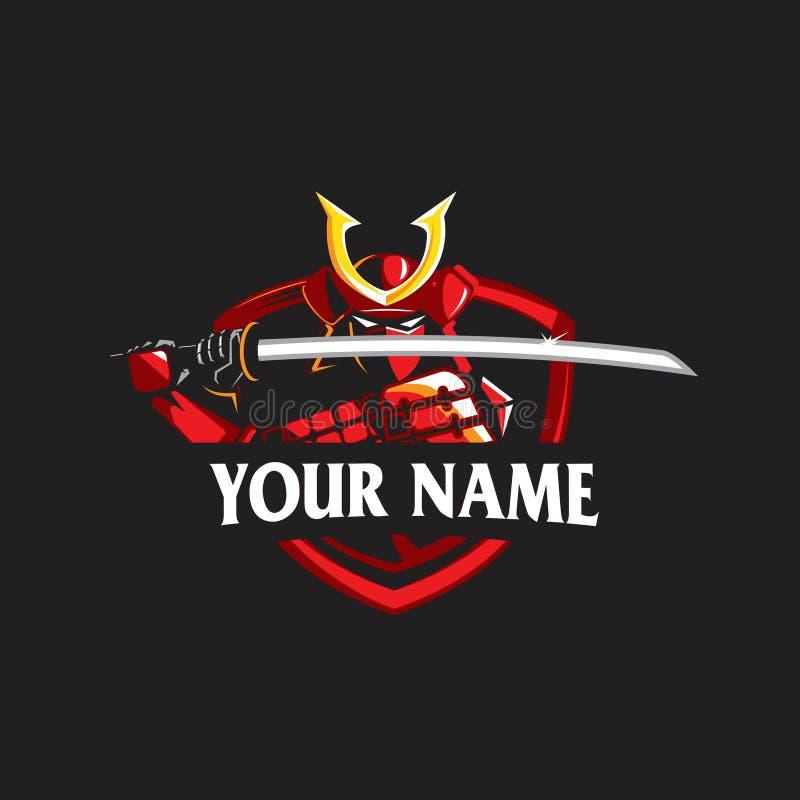 Samurai, guerreiro antigo japonês logotipo do estilo do e-esporte ilustração royalty free