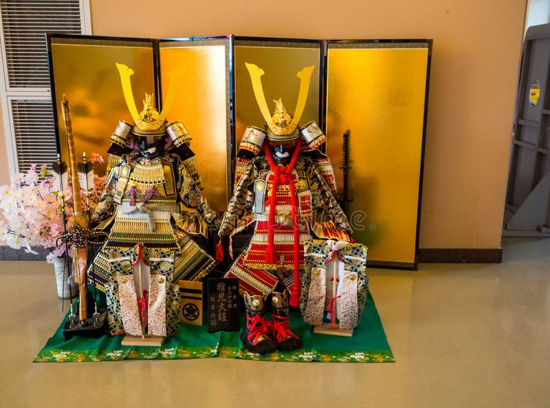 SAMURAI HELMET samurai costume japan warrior traditional culture in Fujisan World Heritage Center, Kawaguchiko, Japan - Sep 2018 royalty free stock photo