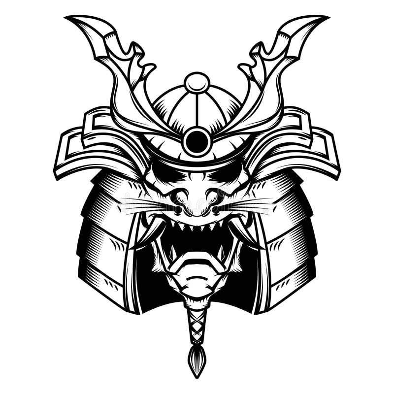 Samurai helmet illustration on white background. royalty free illustration
