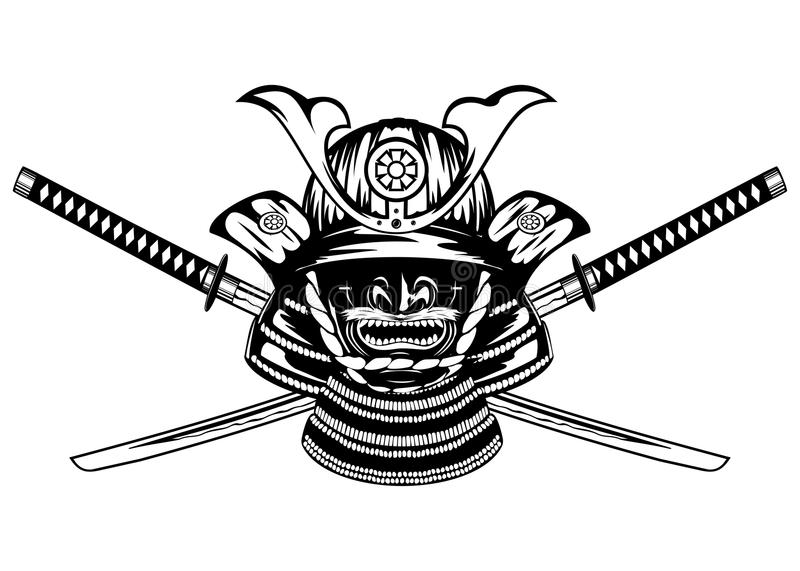 Samurai helmet and swords vector illustration