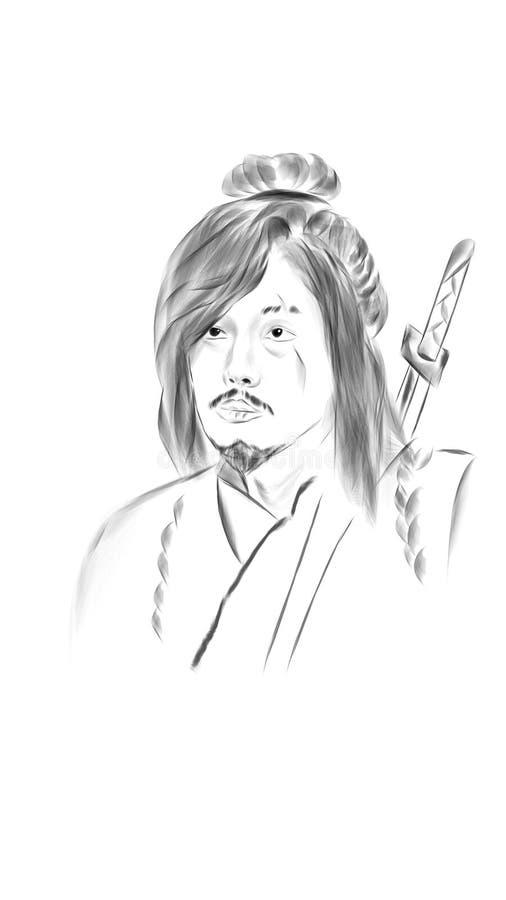 Samurai ilustrado fotos de stock royalty free