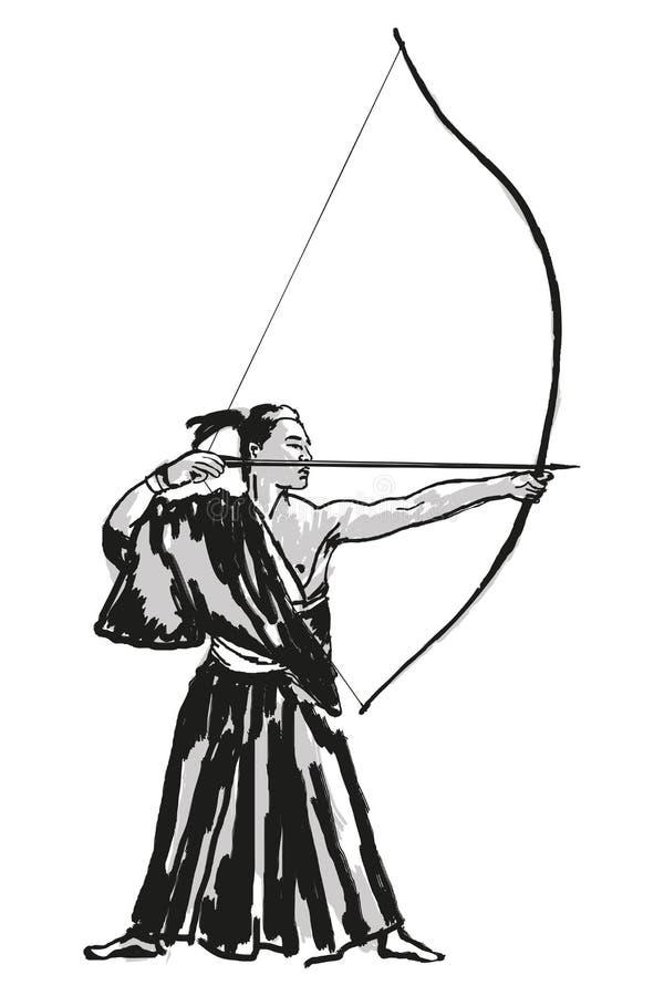 Samurai japon?s do guerreiro ilustração stock