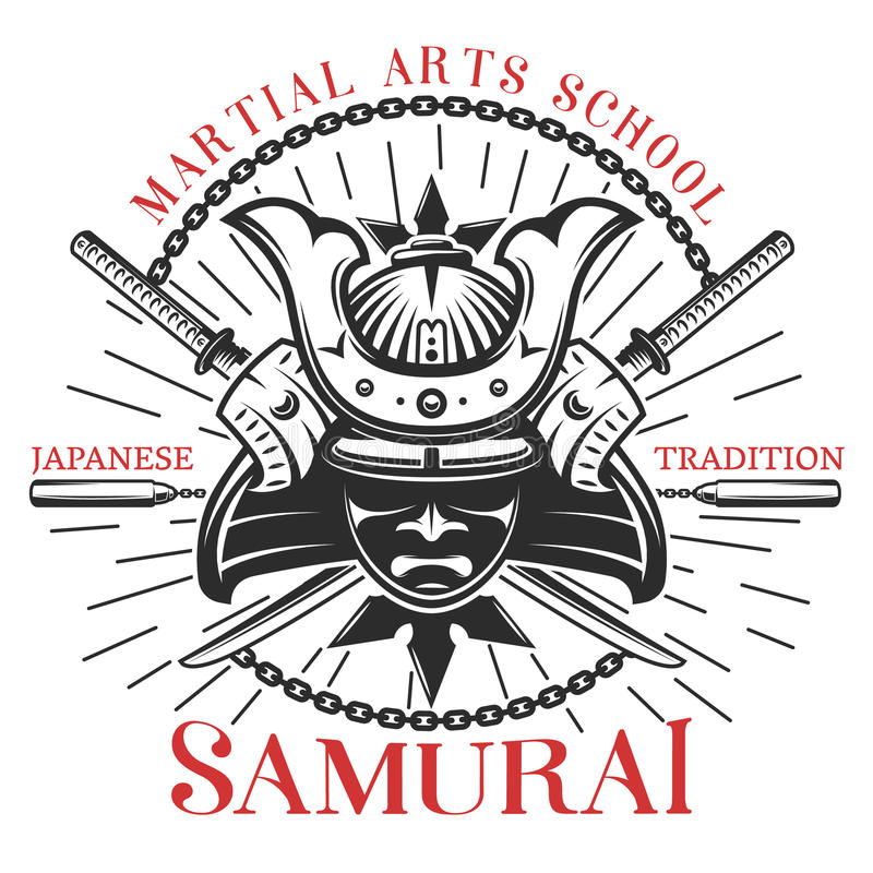 Samurai-Kampfkunst-Druck lizenzfreie abbildung