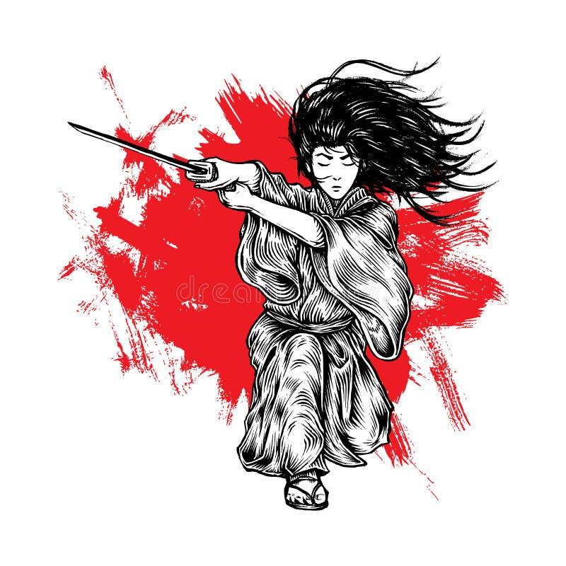 Samurai longo que ataca com seu Katana, do cabelo ilustração tirada mão ilustração stock