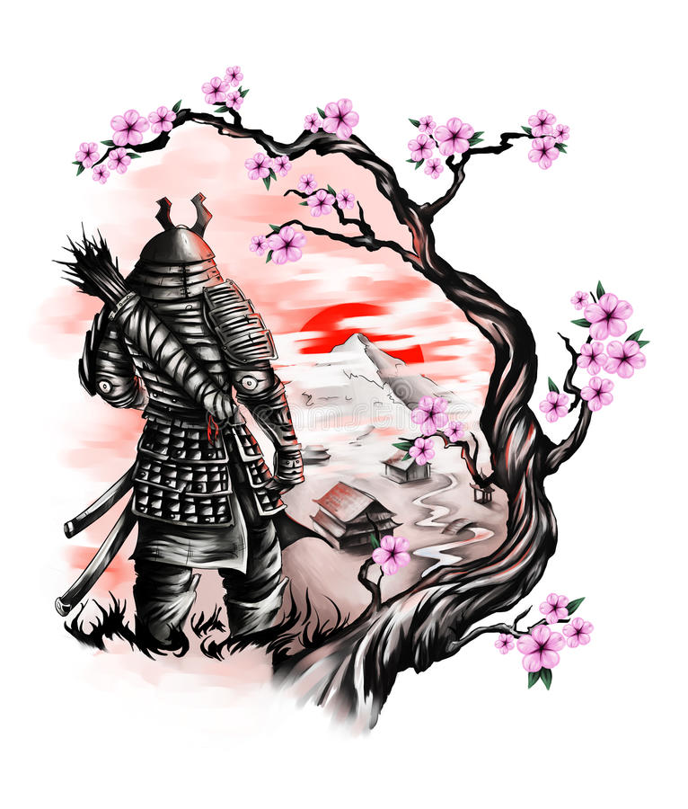 Samurai looks over the village and mountain from the hill stock illustration
