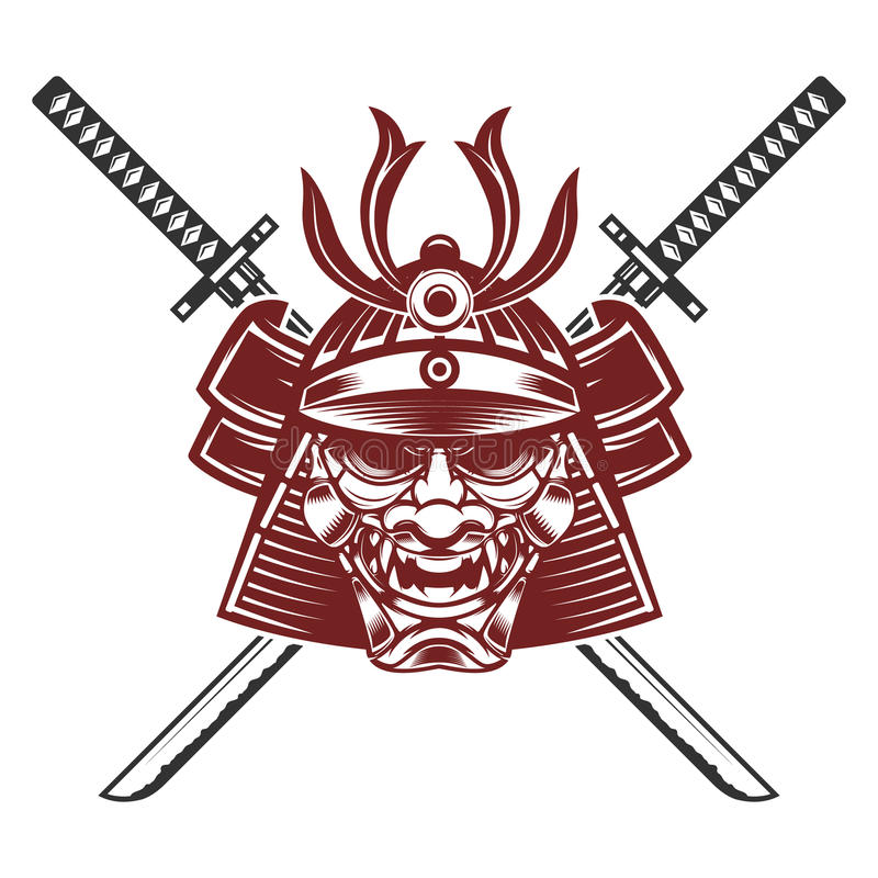 Samurai mask with crossed swords isolated on white background. D royalty free illustration