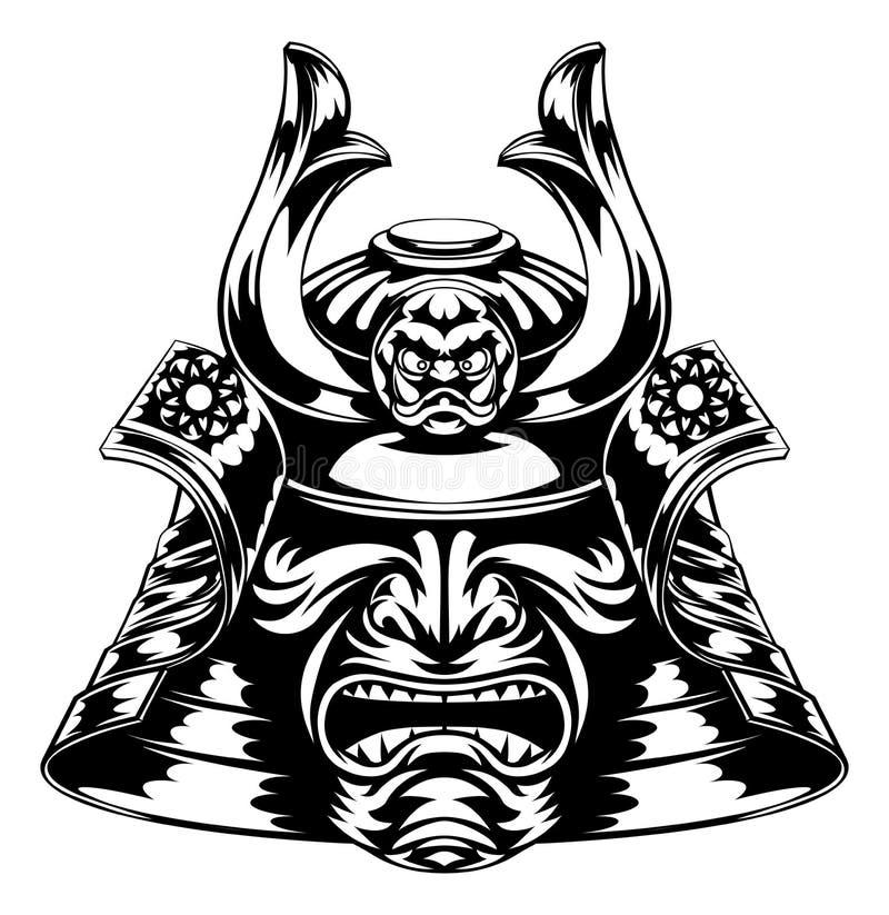 Samurai Mask. A Japanese samurai mask and helmet illustration vector illustration