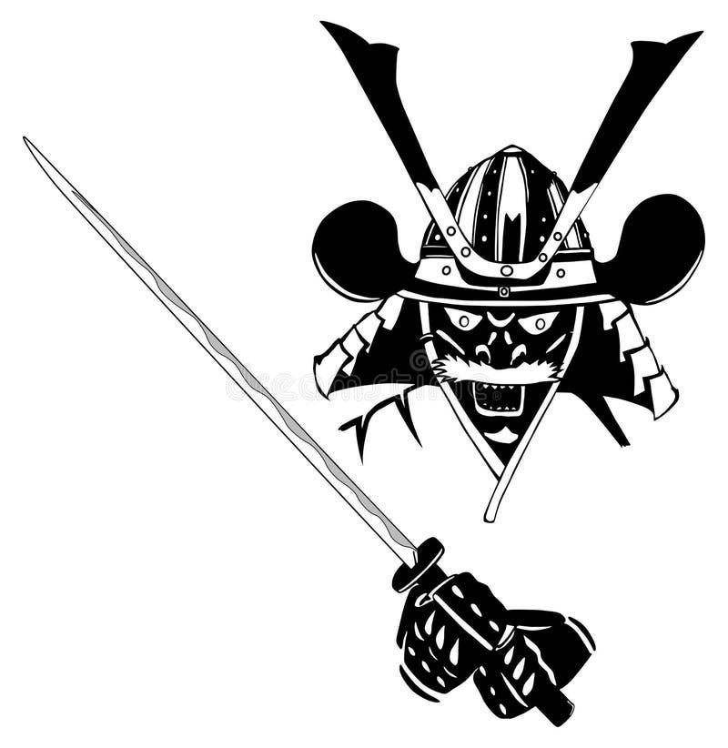 Samurai na máscara, com espada ilustração do vetor