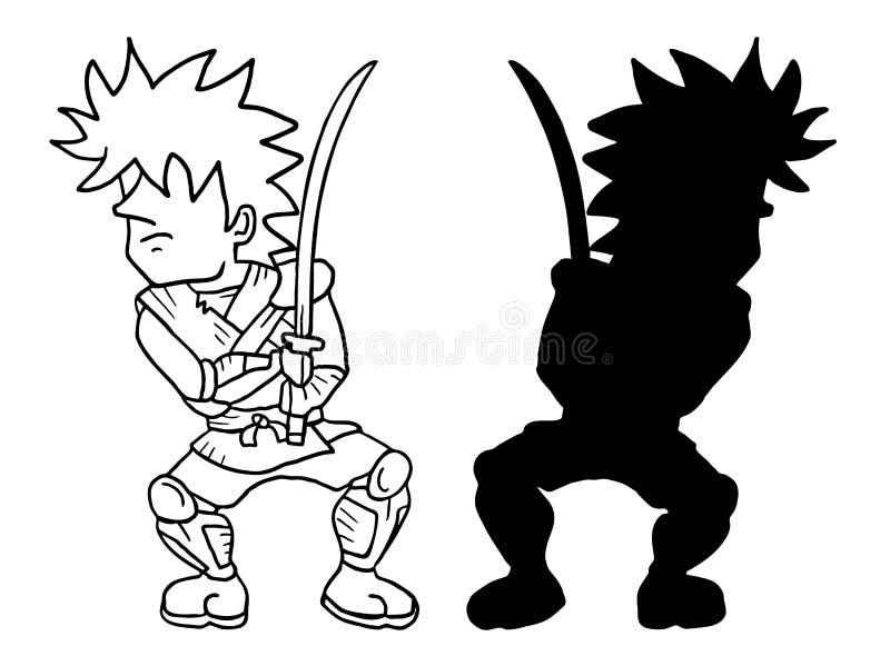 Samurai pequeno ilustração do vetor