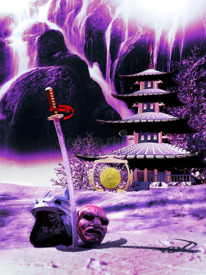 Samurai Retirement. Samurai sword, helmet and mask on the snow. Katana with the words `dark shadows` engraved on its blade. At the foreground of a pagoda close