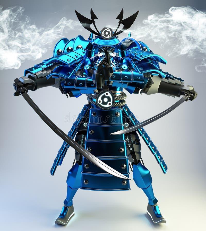 Samurai robot warrior design .3D rendering stock images
