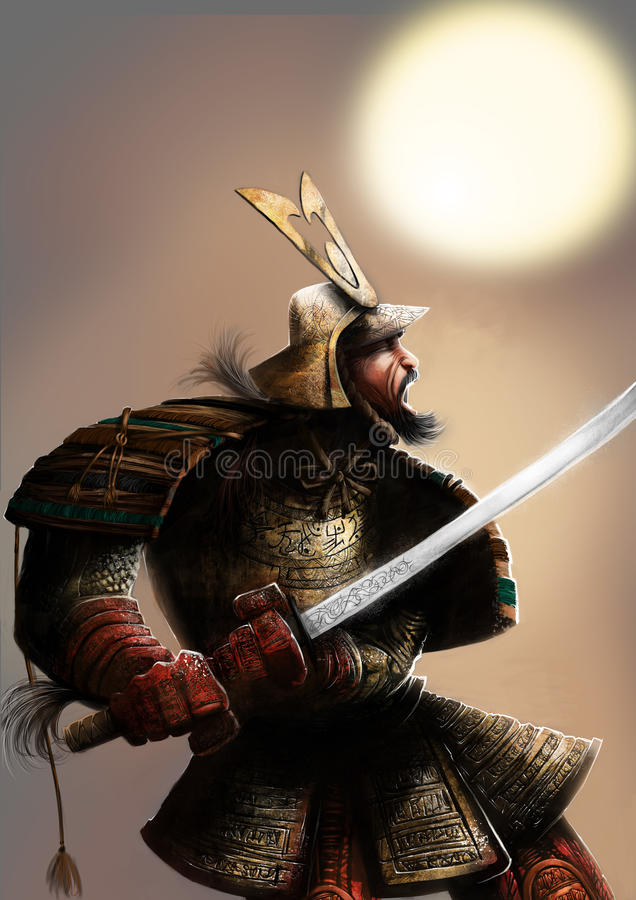 The samurai and the sun royalty free illustration