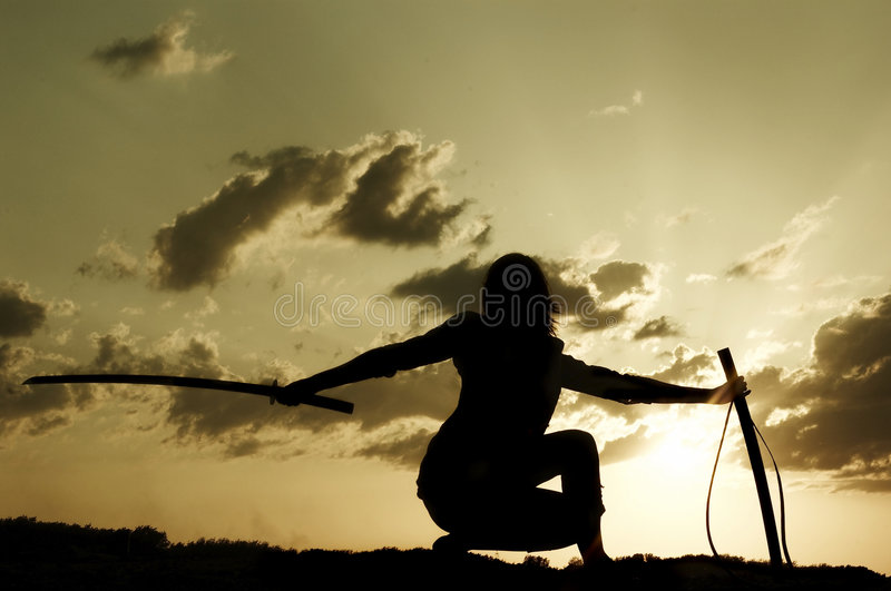 Download Samurai on sundown stock photo. Image of swords, blade - 7987952